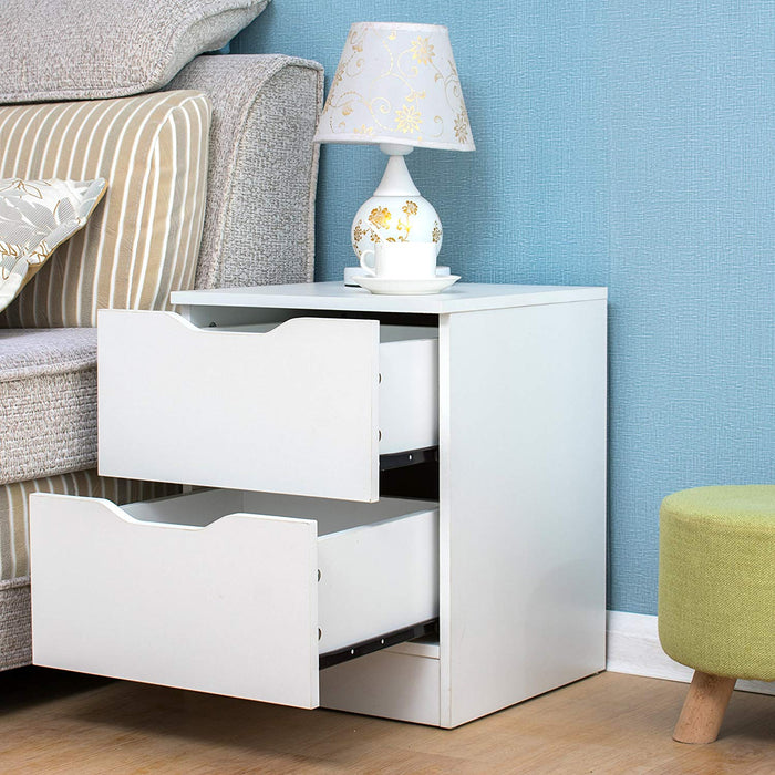 2-Drawer White Wood Bedside Table Cabinet
