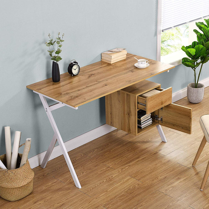 SION Desk with Drawer & Cupboard Oak 2