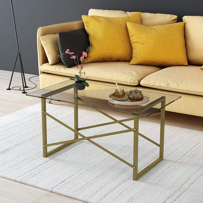 venus modern living room glass top coffee table with geometric metal frame
