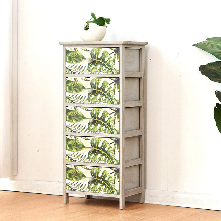 Cherry Tree Furniture Paulownia Solid Wood Washed Grey 5-Drawer Cabinet Chest of Drawers with Tropical Green Leaves Pattern 5-Drawer