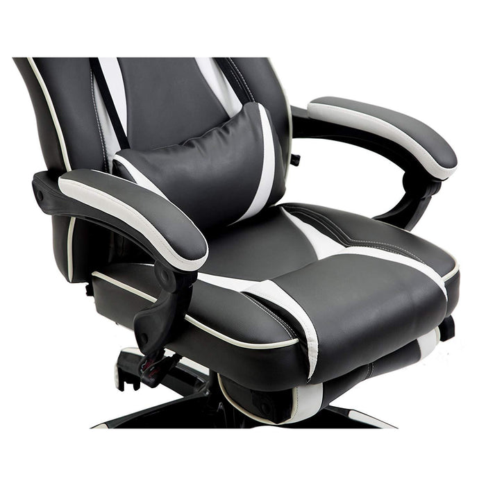 high back recliner gaming swivel chair with footrest adjustable lumbar head cushion black white