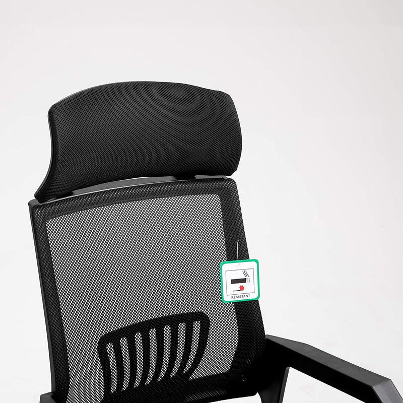 Beni Mesh Fabric Swivel Office Chair with Headrest Black 6