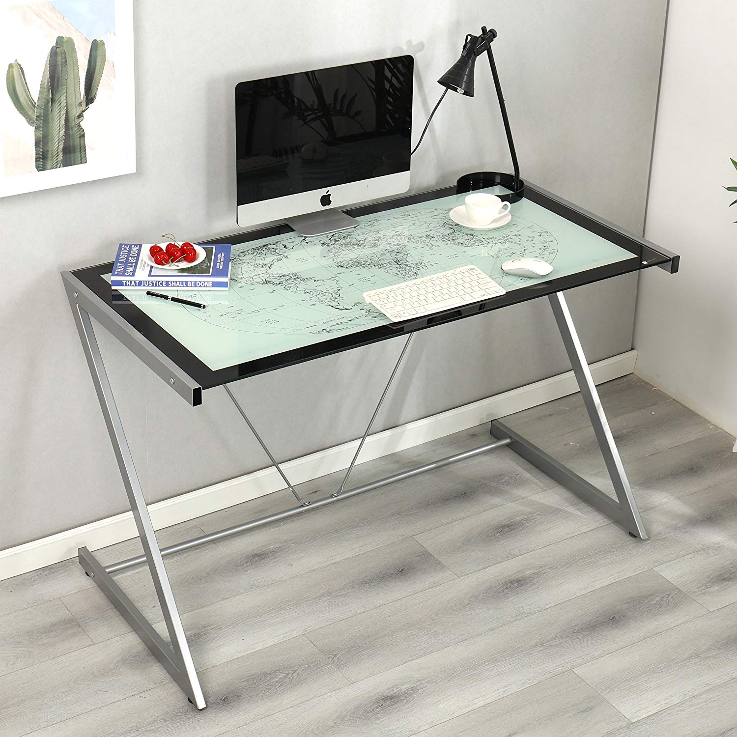 Columbus world map tempered glass desk with silver frame daals columbus world map tempered glass desk with silver frame gumiabroncs