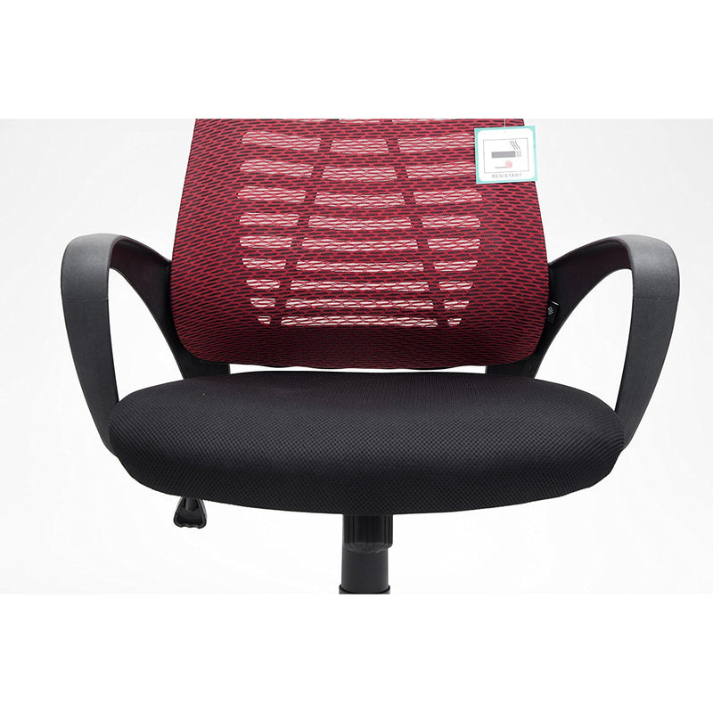 Mesh Fabric Padded Swivel Office Chair Computer Desk Chair, Dark Red & Black