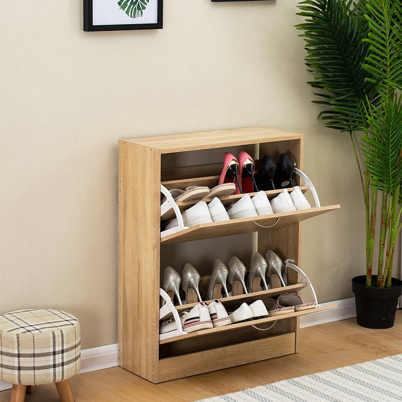2-Drawer Wooden Shoe Cabinet Shoe Storage Unit, Oak Colour