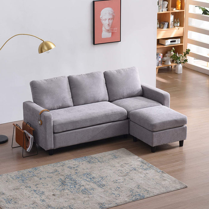 Campbell 3 Seater Sofa with Reversible Chaise in Light Grey 4