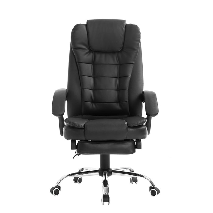 luxury extra padded high back reclining faux leather relaxing swivel executive chair with footrest black