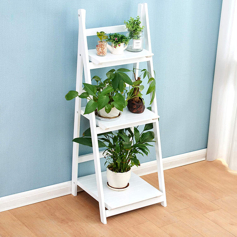 3-Tier Foldable Display Shelf Unit, Flower Shelf Unit, Standing Plant Holder, White