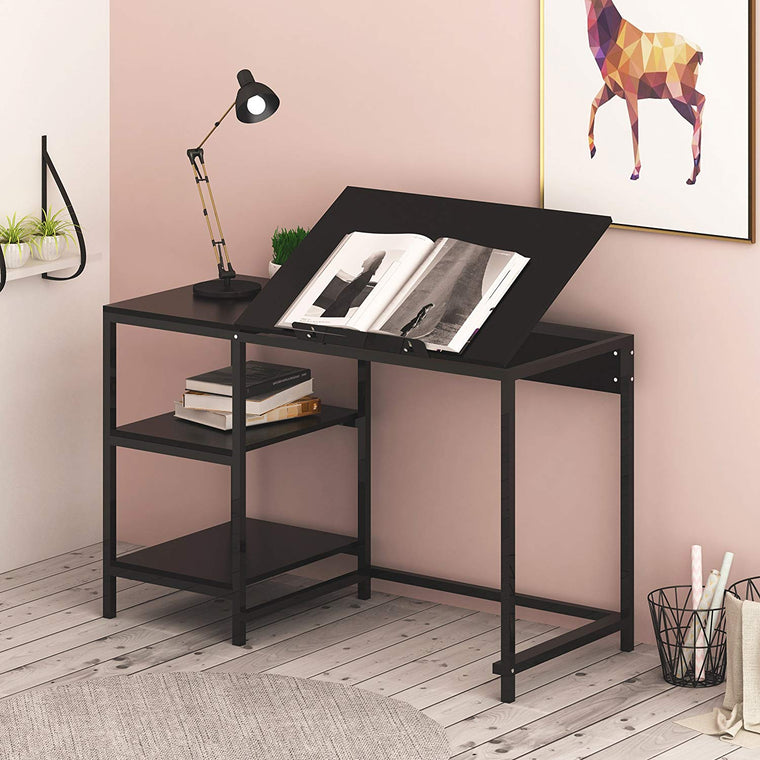 Computer Desk / Drafting Table with Shelves, Black