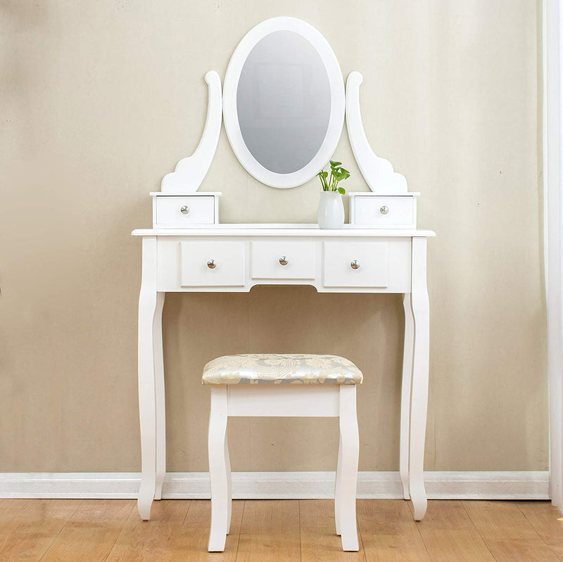 White 5-Drawer Vanity Makeup Dressing Table with Oval Mirror, Jacquard Cushioned Stool
