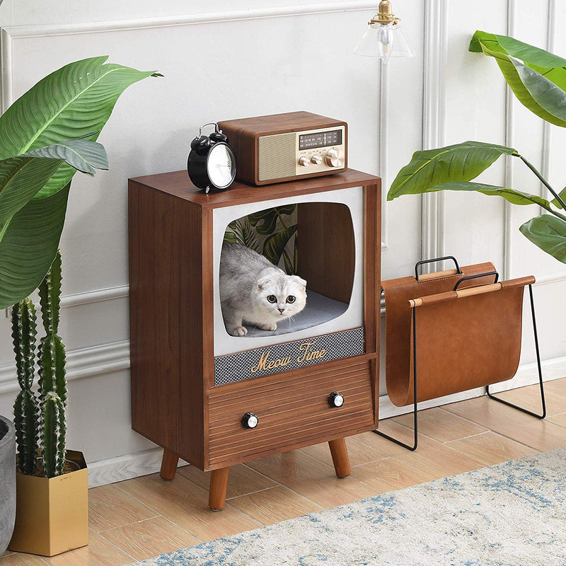 MIHOS Meow Time Wooden Vintage TV Style Cat Condo 2