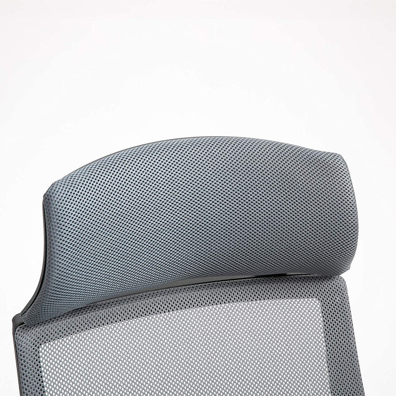 Beni Mesh Fabric Swivel Office Chair with Headrest Grey 6