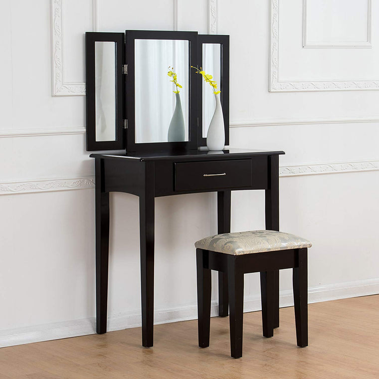 Triple Mirrors Dressing Table Set with Stool, Black