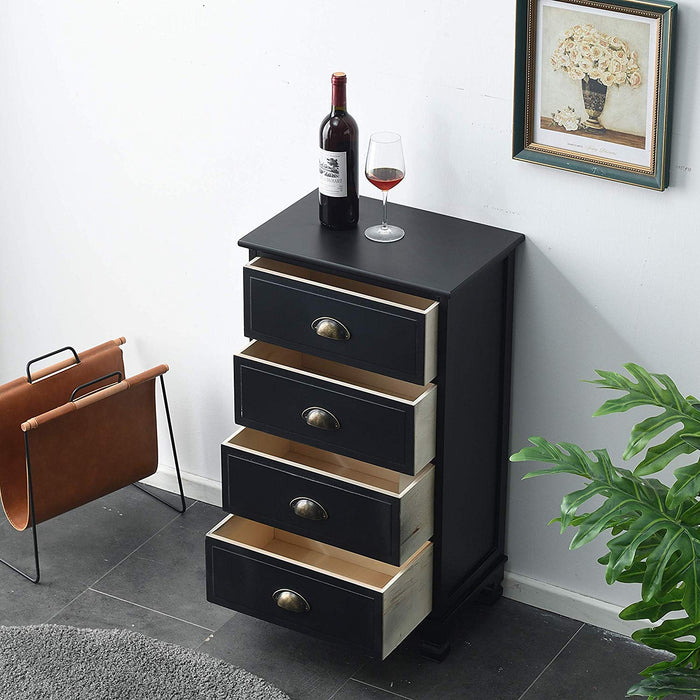 CAMROSE Wooden Chest of Drawers/Bedside Table with Metal Cup Pull Handles Black 4 Drawer 3