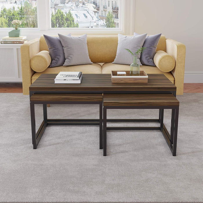 Cherry Tree Furniture CLIVE Coffee Table with Nest of 2 Tables, 1+2 Coffee Table Nesting Tables Walnut Colour