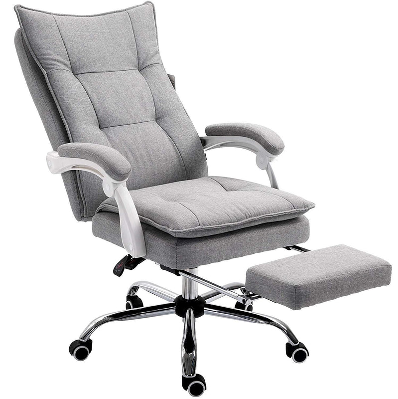 executive double layer padding recline desk chair office chair with footrest grey fabric