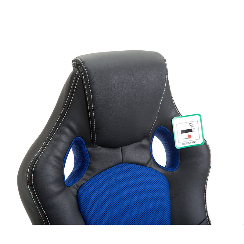 CTF Sport Racing Gaming PU Leather & Fabric Swivel Office Chair, Blue