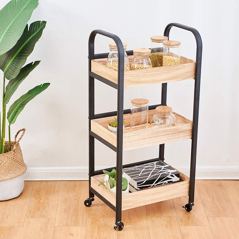 Cherry Tree Furniture 3 Tiers Industrial Style Wood Serving Cart Trolley, Kitchen Trolley with Wheels