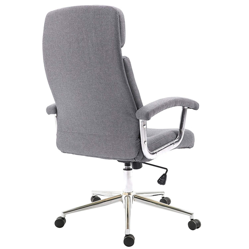 Premium Fabric Swivel Office Chair Computer Desk Chair with Chrome Armrests & Base, Grey