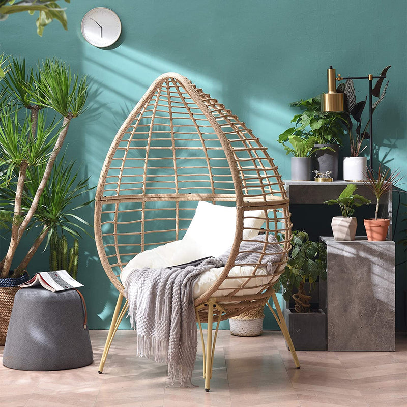 Caspian Natural Rattan Effect Cocoon Patio Egg Chair 4