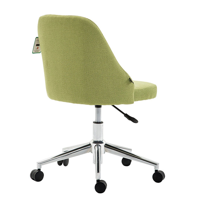 Brushed Fabric Medium Back Computer Desk Office Swivel Chair with Chrome Base, Green