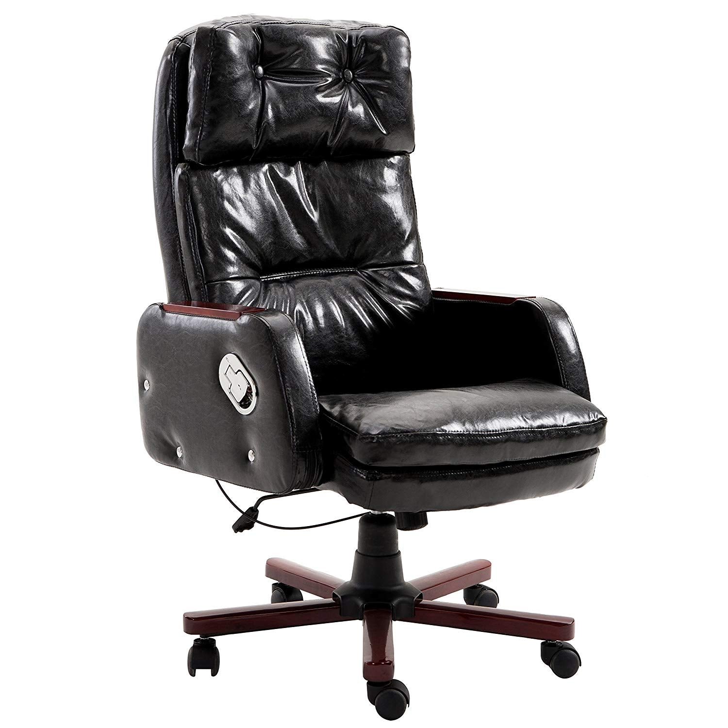 Luxury PU Leather Executive Swivel Computer Chair Office Desk Chair with Latch Recline Mechanism, Black