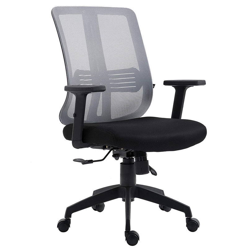 grey mesh medium back executive office chair swivel desk chair with synchro tilt adjustable armrests