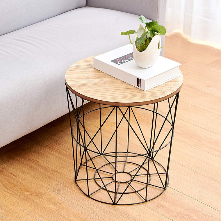 Cherry Tree Furniture KORAM Basket Side Table Geometric Wire Frame End Table Round Wooden Top