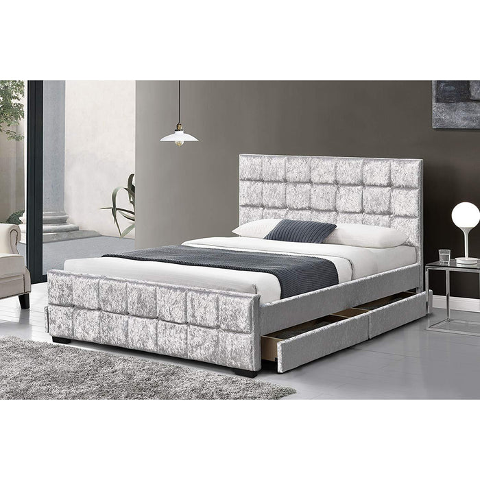 Cherry Tree Furniture 4 Drawers Crushed Velvet Upholstered Storage Bed Frame Bedstead 4FT6 Double/w Drawers, Silver