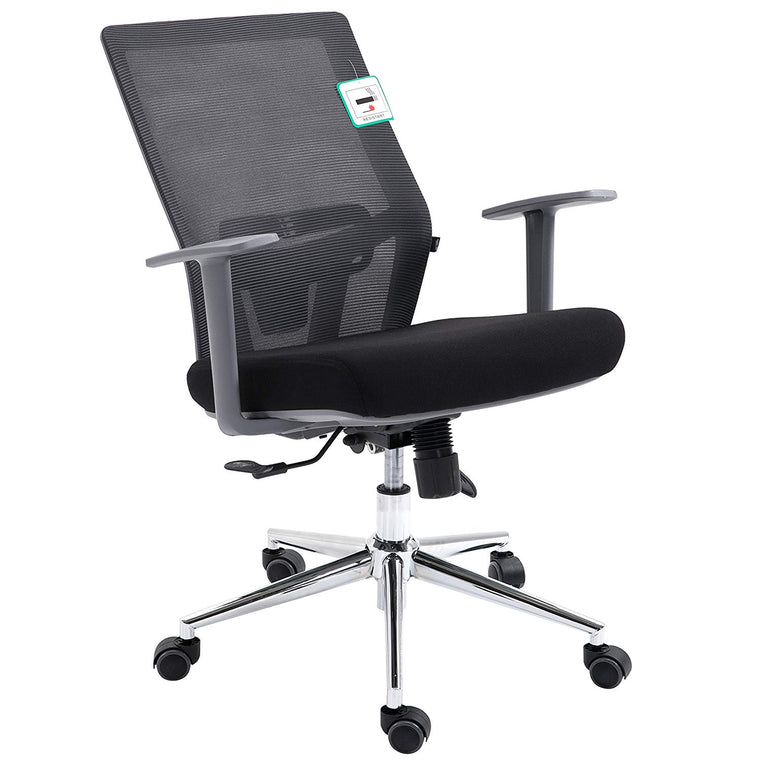 Premium Mesh Medium Back Chrome Base Ergonomic Office Chair Swivel Desk Chair with Synchro-Tilt & Lumbar Support, Dark Grey