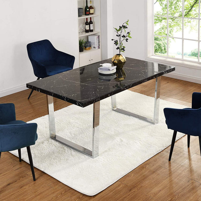 BIASCA 6-Seater High Gloss Marble Effect Dining Table with Silver Chrome Legs Black 2
