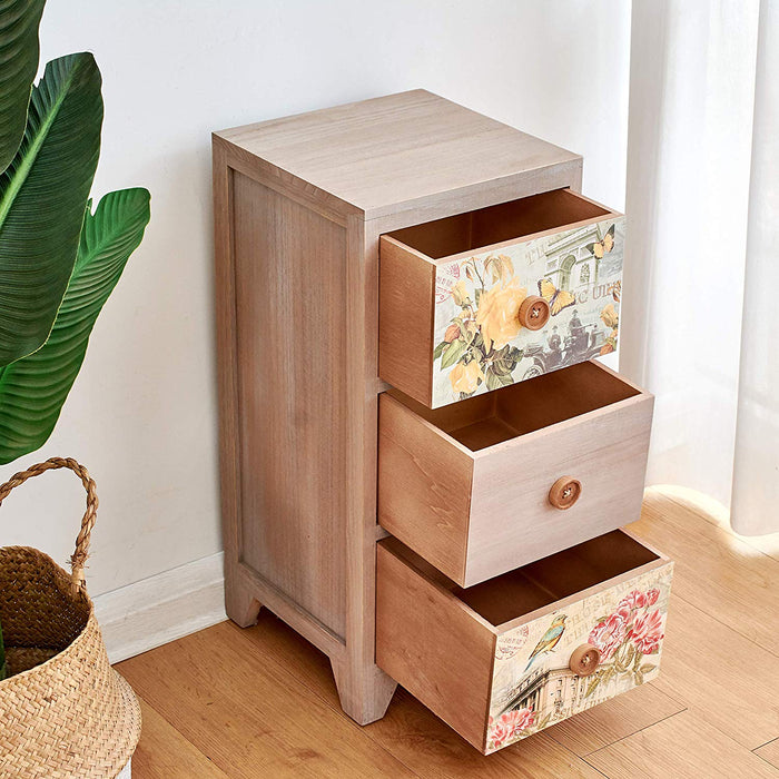 Cherry Tree Furniture NOLA Vintage Country Style Wooden Bedside Cabinet with Floral Drawers and Button Handles 3-Drawer Bedside