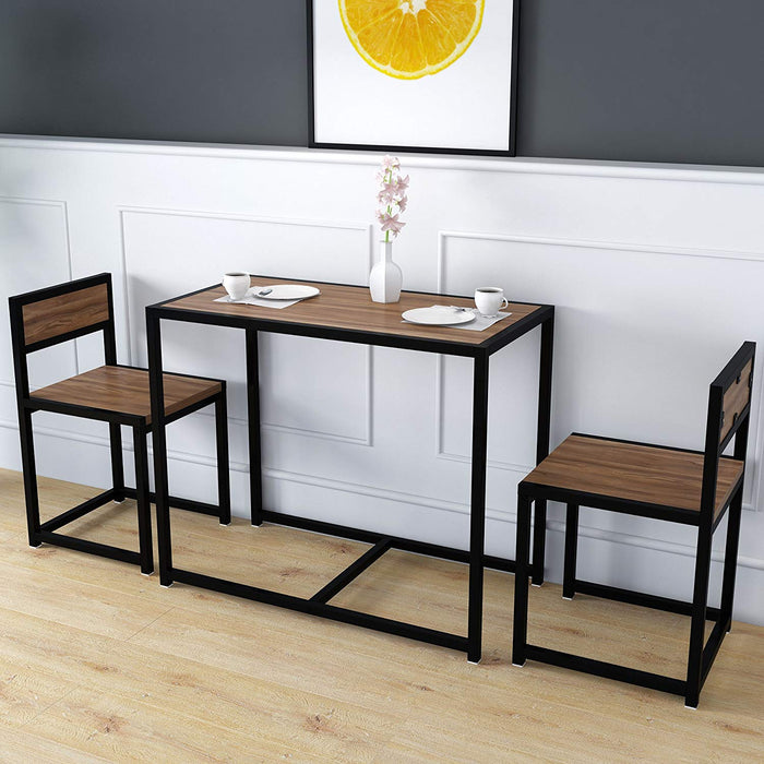 clive 3 piece dining table chairs set in walnut colour with black steel frame