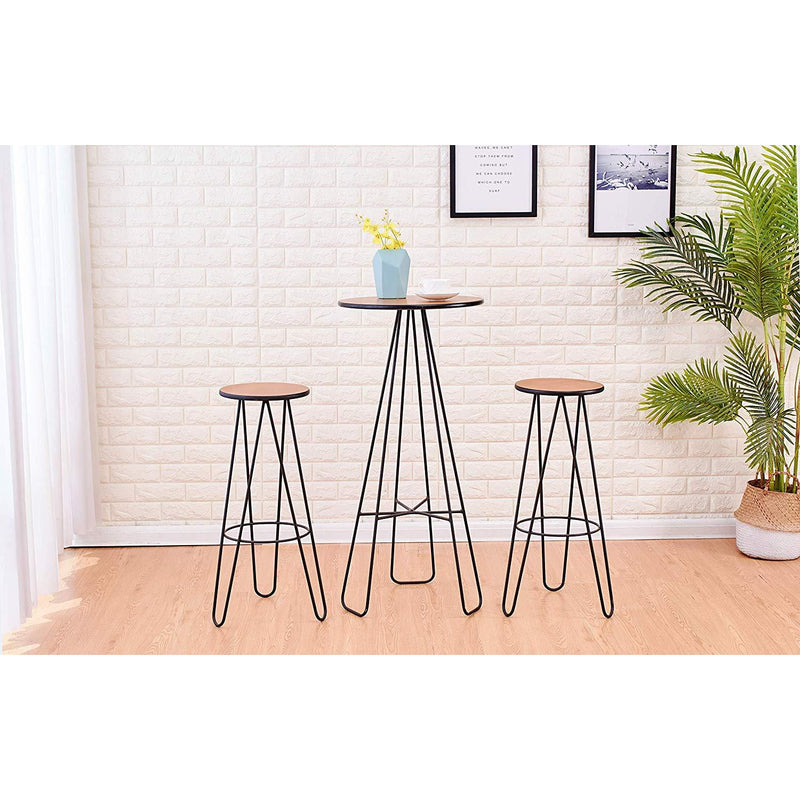 Cherry Tree Furniture Korla 3-Piece Bar Set, Kitchen Bistro Set, Solid Wood Veneer & Hairpin Legs Bar Set