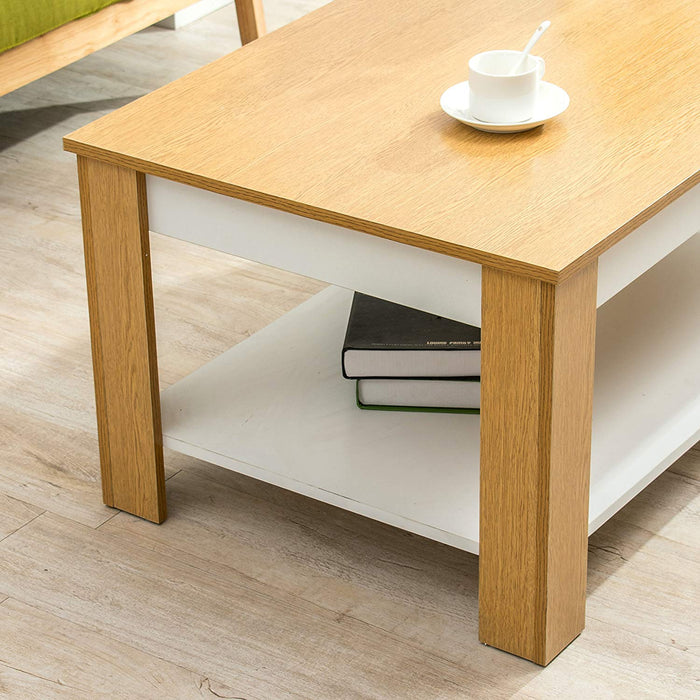 simba oak white colour living room coffee table tv stand table 120 x 60 cm