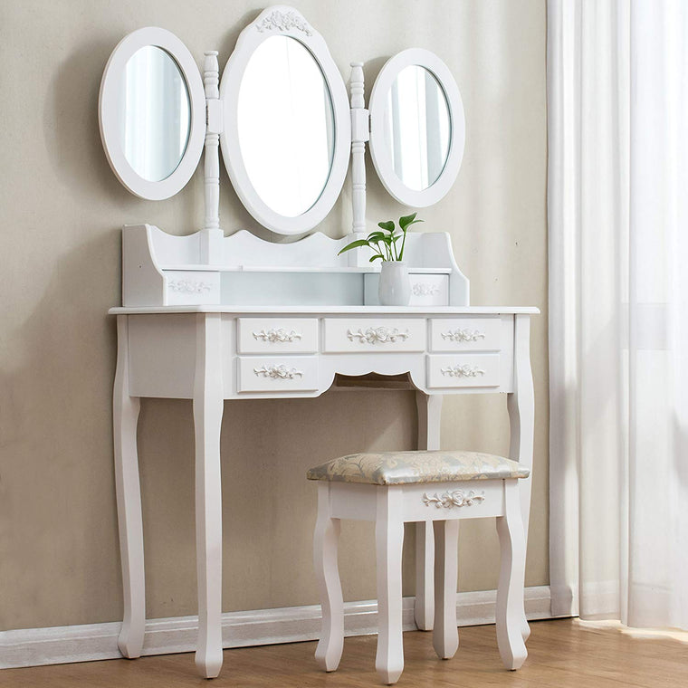 Large White 7-Drawer Vanity Makeup Dressing Table Set with 3 Mirrors and Jacquard Cushioned Stool