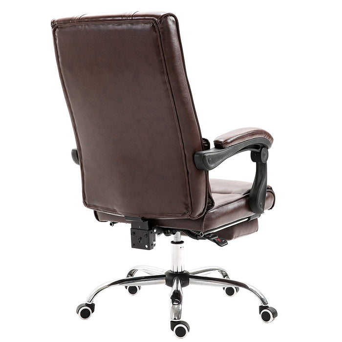 premium executive reclining computer desk chair with footrest headrest and lumbar cushion support brown pu
