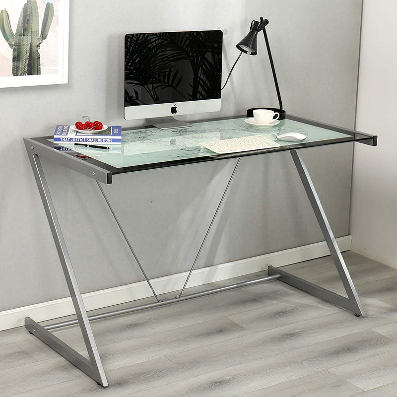 columbus world map tempered glass desk with silver frame