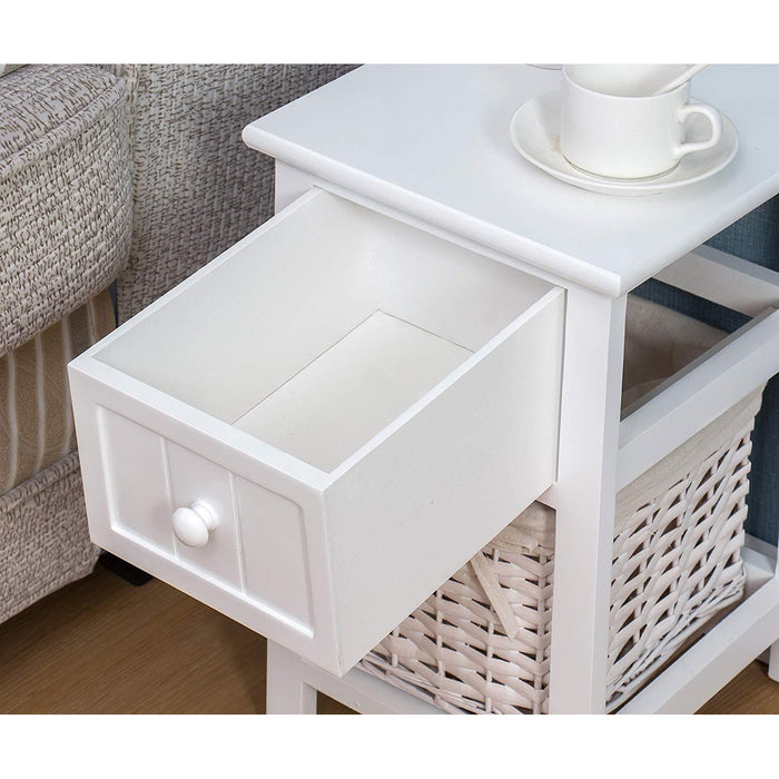 white wood bedside table with 1 drawer 1 wicker basket storage