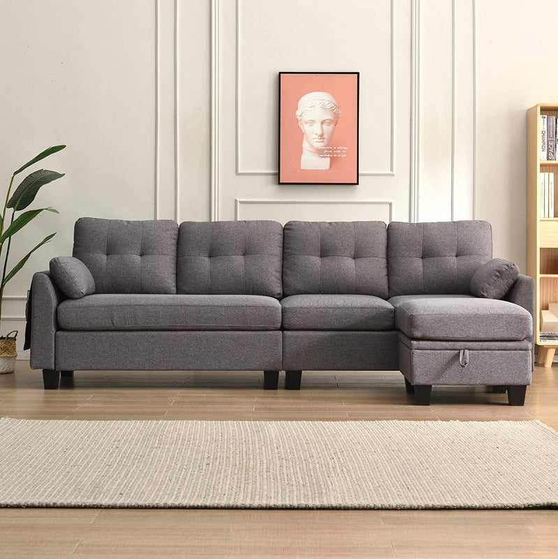 Brunswick 4 Seater Storage Chaise Sofa in Grey 3