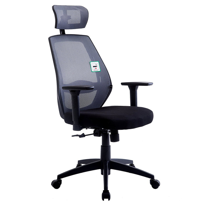 Mesh Fabric High Back Swivel Office Chair with Adjustable Armrests, Lumbar Support & Headrest, Grey