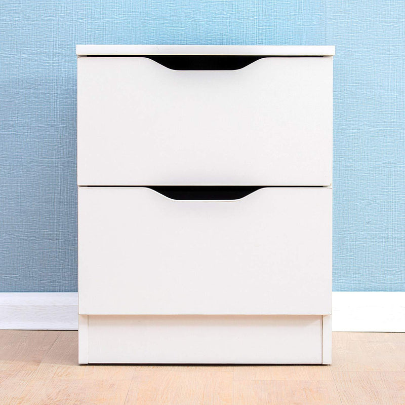 2 drawer white wood bedside table cabinet