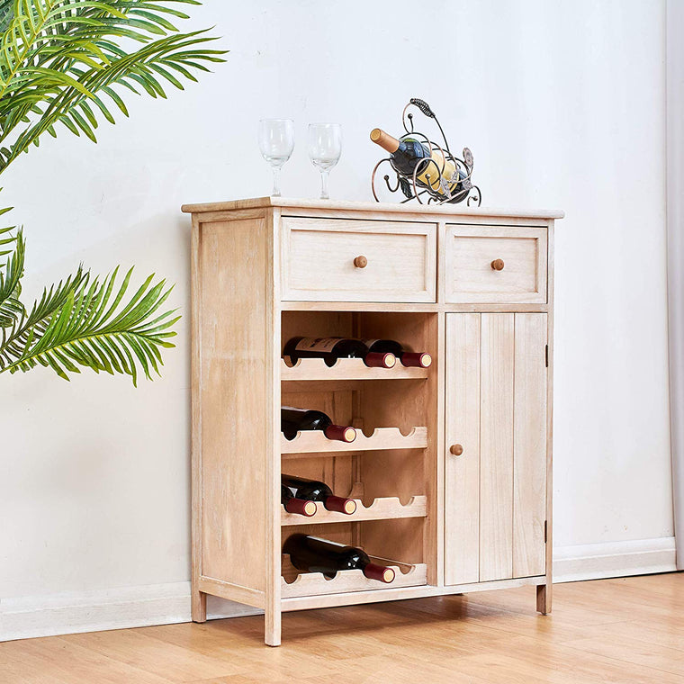Cherry Tree Furniture Natural Paulownia Wood Drinks Cabinet Sideboard with 2 Drawers and 1 Cupboard
