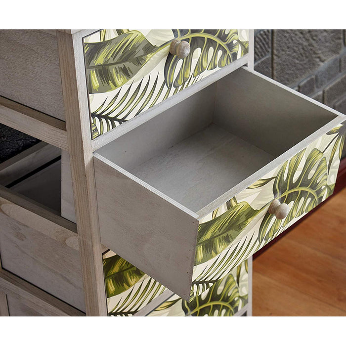 Cherry Tree Furniture Paulownia Solid Wood Washed Grey Chest of Drawers with Tropical Green Leaves Pattern 3-Drawer