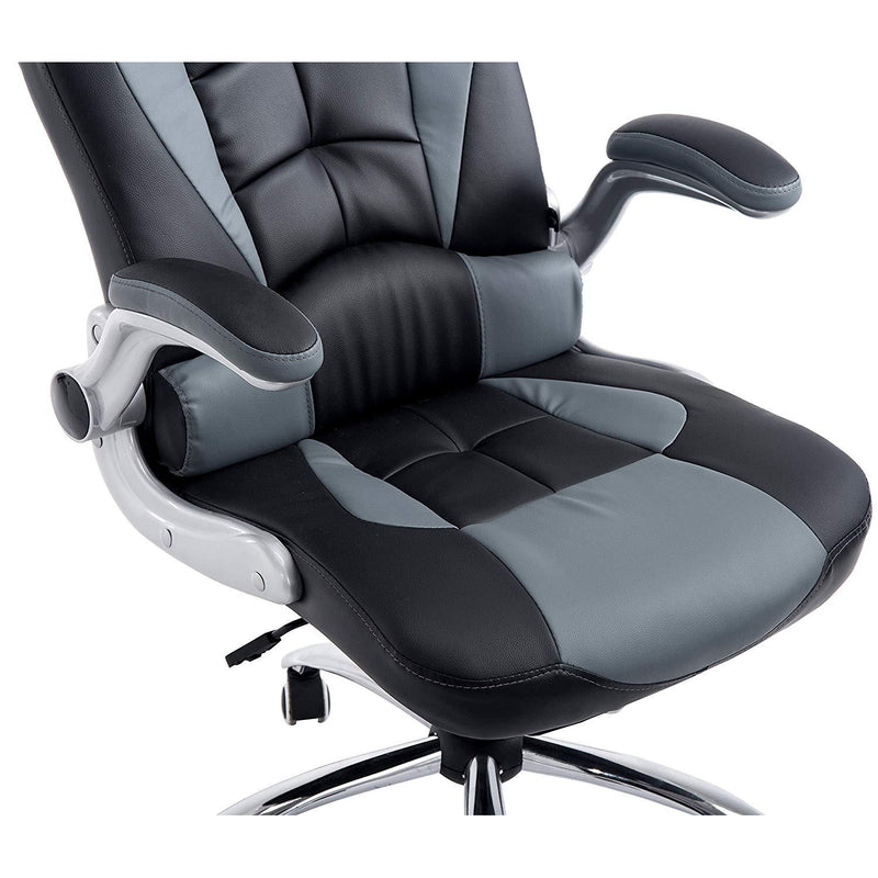 CTF High Back Racing Sport Swivel Chair with Adjustable Armrests & Headrest Cushion, Grey