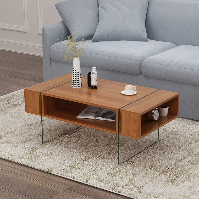 JUPITER Walnut Living Room Coffee Table with Glass Sheet Legs
