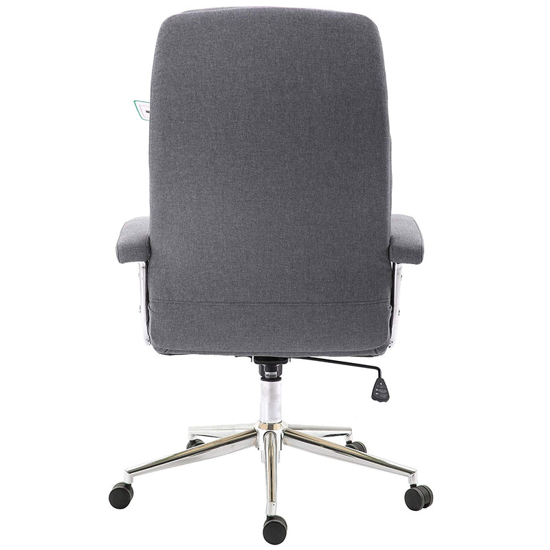 premium fabric swivel office chair computer desk chair with chrome armrests base grey