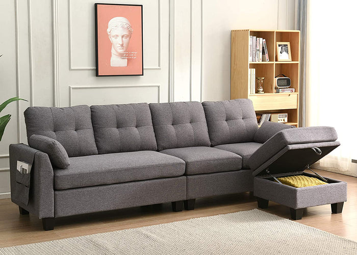 Brunswick 4 Seater Storage Chaise Sofa in Grey 2