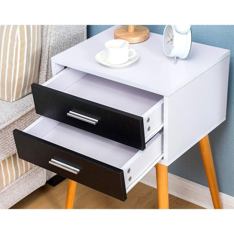 Black & White 2-Drawer Bedside Table Nightstand Cabinet with Solid Wood Legs