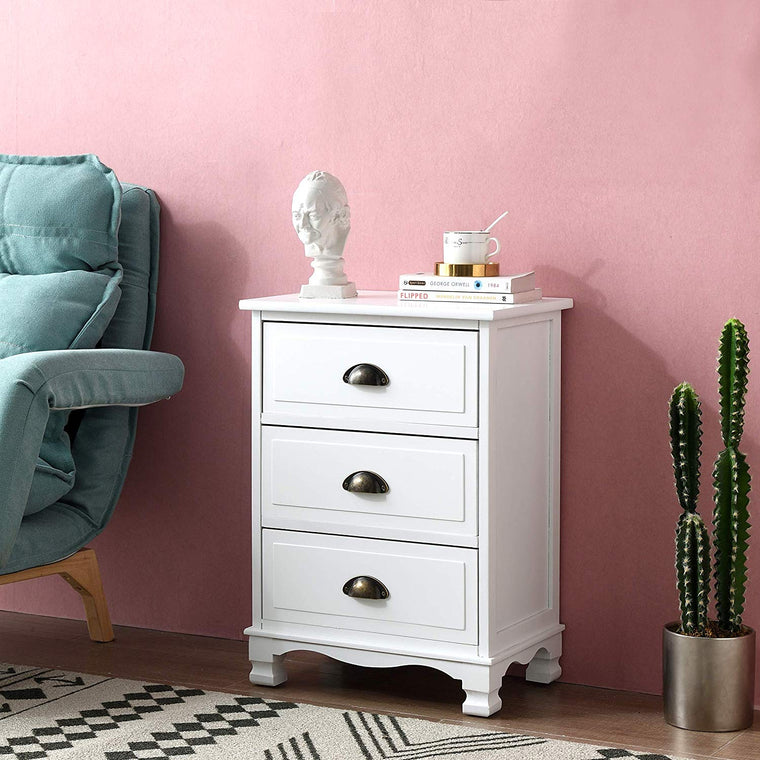 CAMROSE Wooden Chest of Drawers/Bedside Table with Metal Cup Pull Handles White 3 Drawer